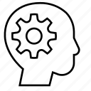 education, gear, intelligence, knowledge, mind, think, thought icon