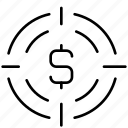 aim, coin, finance, marketing, money, shooting, target icon