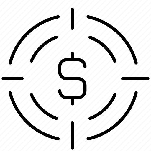 aim, coin, finance, marketing, money, shooting, target icon