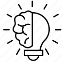 brain, brainstorm, business, lightbulb, marketing, strategy, think icon