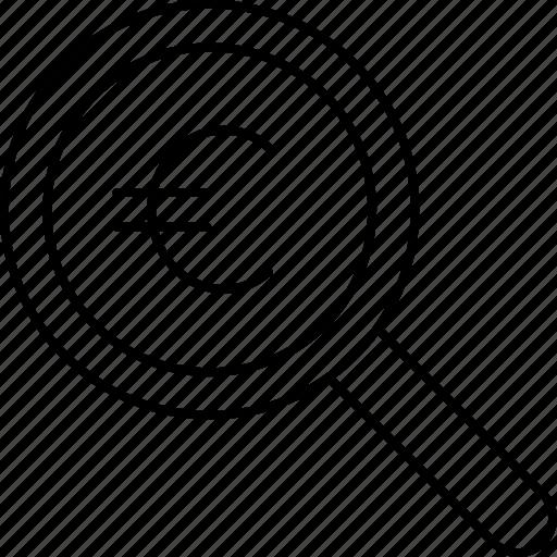audit, euro, money, search icon