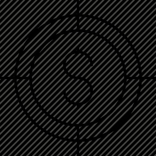 dollar, focus, money, target icon