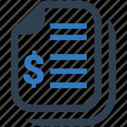 bill, financial report, invoice, receipt icon