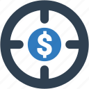 business, currency, dollar, finance, money, target icon
