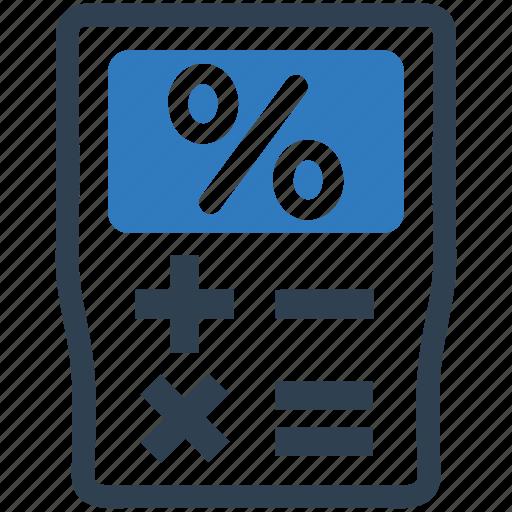 business, finance calculator, mortgage loan, percentage icon