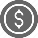 accounting, business, coin, dollar, financial, money icon