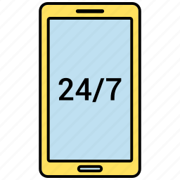 24/7, clock, customer support, support icon