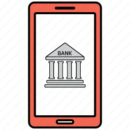 bank, banking, cell, online, phone icon