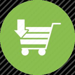arrow, buy, cart, sell, shopping, shopping cart icon