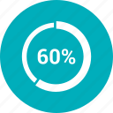 graph, pie, pie chart, sixty, statistics icon