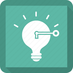 bulb, idea, key, light, lightbulb, lock icon