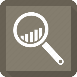 bar, growth bar, lupe, search, zoom icon