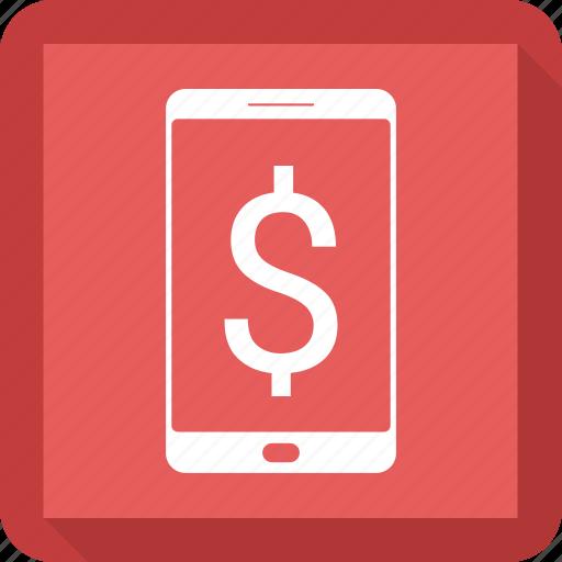 dollar, mobile, phone icon