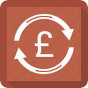 finance, funds transfer, money, pound, transaction icon