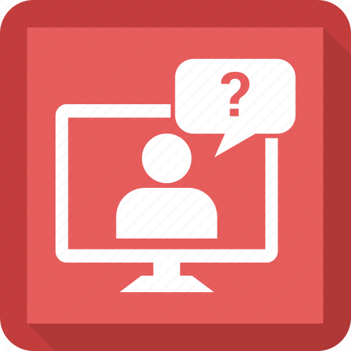 chat, computer, display, man, monitor, msg, screen icon