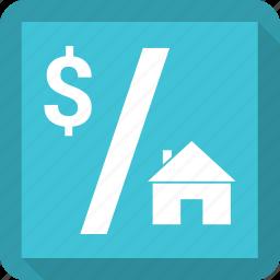 dollar, house, rent, sale icon