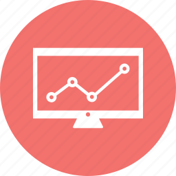 computer, growth bar, infographic, monitor, screen icon