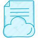 cloud, document, note, paper, report icon