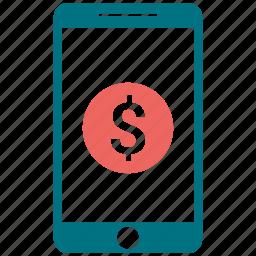 apple, coin, communication, dollar, mobile, money send, phone icon