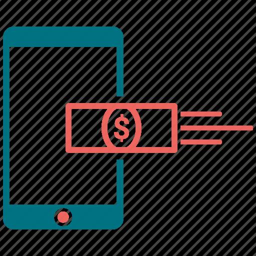apple, communication, mobile, money recived, money send, phone icon