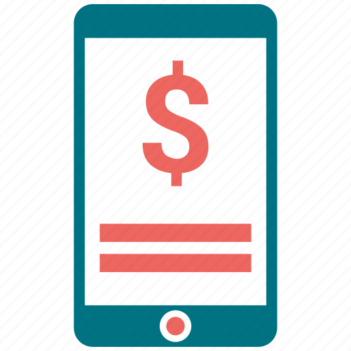 apple, communication, dollar, mobile, payment recived, phone icon