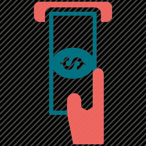 atm, bank, hand, money, money machine icon