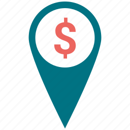 dollar, map, marker, money, navigation, place icon