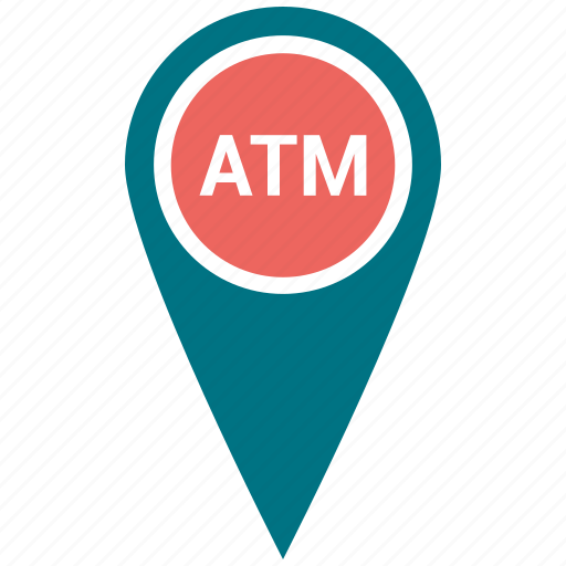 atm, map, marker, navigation, place icon