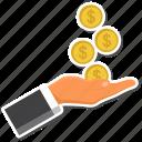 coin, dollar, hand icon