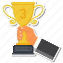 achievement, award, cup, gift, hand, priz, trophy icon