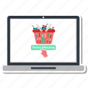 basket, buy, computer, laptop, online, shopping icon