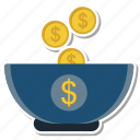 bank, coin, cup, dollar, money icon