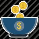 bank, coin, cup, dollar, money icon