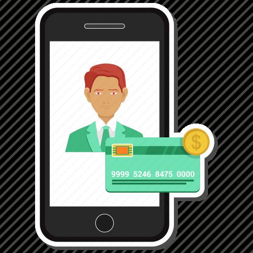 atm card, credit, dollar, mobile, money, online, send icon