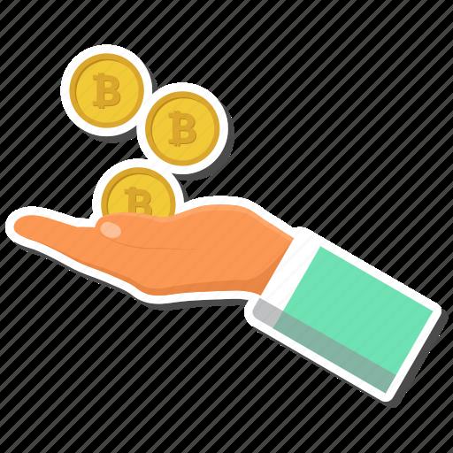 bitcoin, bitcoins, hand icon