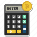 bitcoin, budget, calculator, money icon