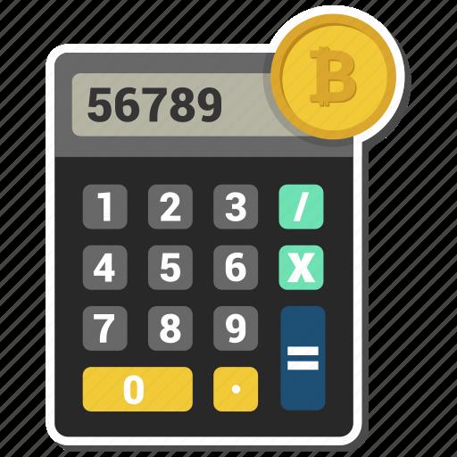 bitcoin, budget, calculator, money icon