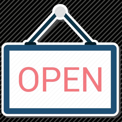 label, open, shop icon