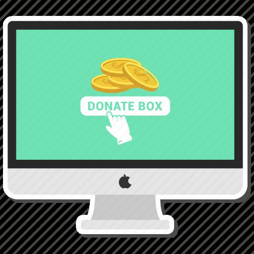 coin, computer, dollar, donate box, money, monitor, send icon