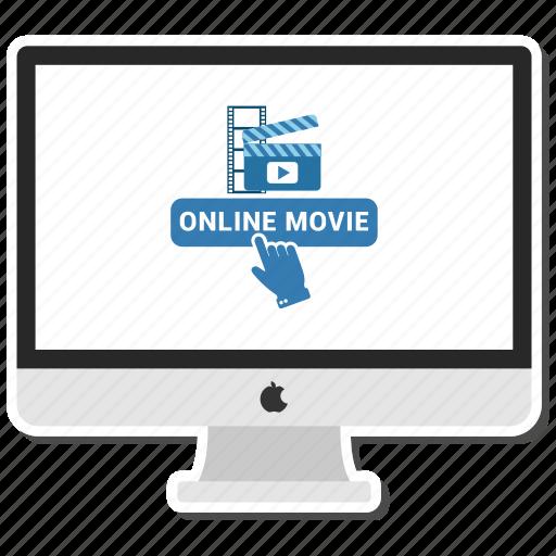 click, computer, monitor, movie, online icon