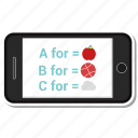 abc, mobile, online, phone, study icon