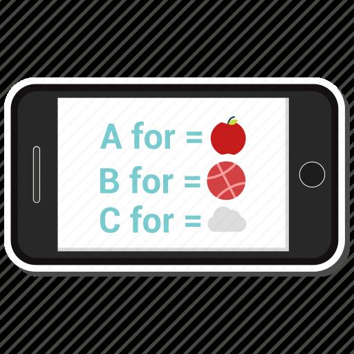 abc, mobile, online, phone, study icon