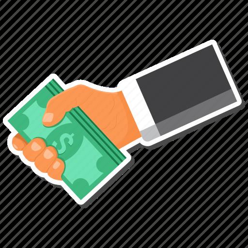cash, dollar, hand, money icon