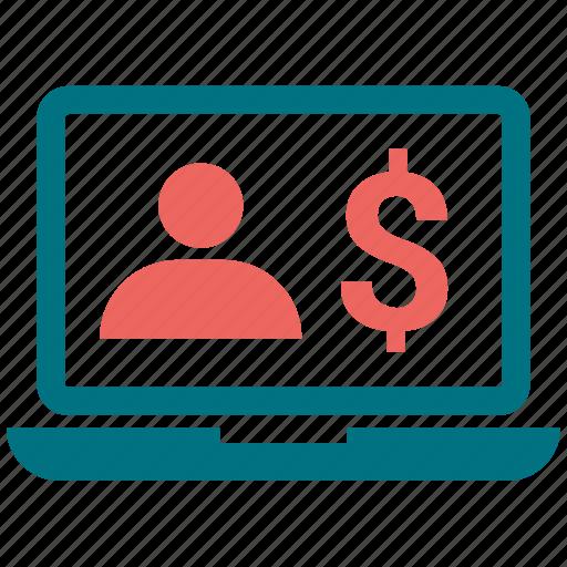 chat, computer, dollar, laptop, man, mobile, monitor icon