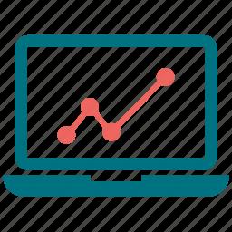 bar, computer, growth bar, laptop, macbook icon