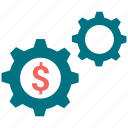 dollar, gear, setting, setup, tool icon