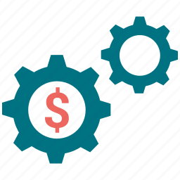 dollar, gear, setting, setup, tool icon