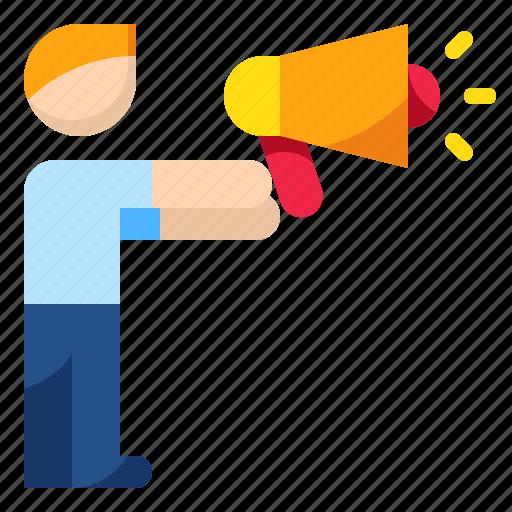 discussion marketing promotion speaker speech icon