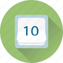 calendar, date, history, ten icon