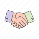 agreement, business deal, contract, hand shake icon